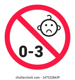 Not suitable for children under 3 years choking hazard forbidden sign sticker isolated on white background vector illustration.