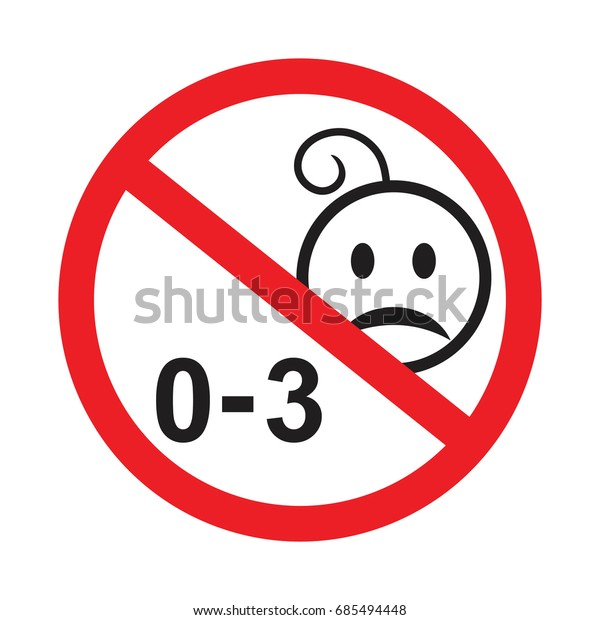 Not suitable for children under 3 years symbol , Silhouette of a child in red circle,Warning symbol , Vector No kids 0-3 year old sign.  prohibited from using kid under three years