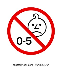 Not suitable for children under 5 years of age symbol vector. Age restriction symbol vector
