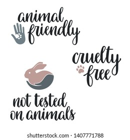 Not tested on animals, Cruelty free, Animal friendly hand lettering with icons and design elements