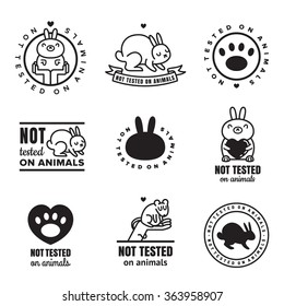 Not tested on animals cute black icons. Can be used as logos and stickers.