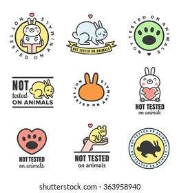 Not tested on animals cute multicolored icons. Can be used as logos and stickers.