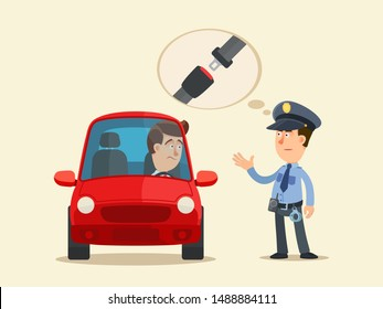 Not wearing seatbelt - violation. Police officer issue admonition to the driver, man not wearing seat belt. Vector illustration, flat design cartoon style. Isolated background.
