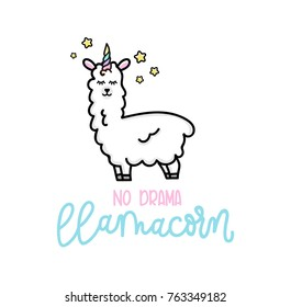 I'm not weird i'm a unicorn inspirational poster with llama and stars. Hand drawn cute poster with lettering on pink background. vector illustration.
