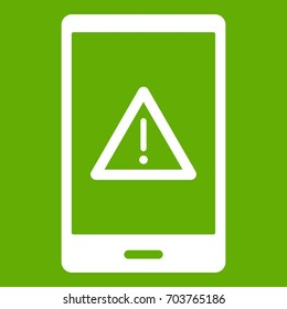 Not working phone icon white isolated on green background. Vector illustration