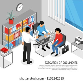 Notary and clients during execution of documents in office interior isometric vector illustration