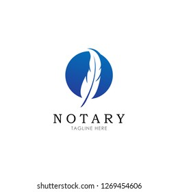 Notary, Lawyer / Law firm Logo design. Feather Quill symbol in negative space. vector illustration