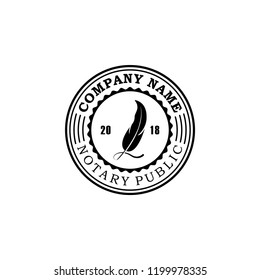 Notary logo stamp vector