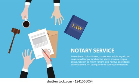 notary service concept banner with legal team discuss and signing paper document vector illustration