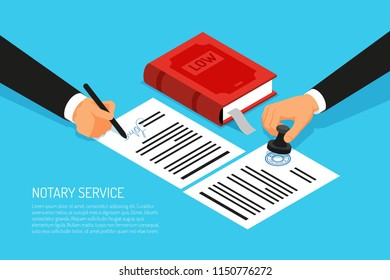 Notary service execution of documents seal and signature on papers on blue background isometric vector illustration