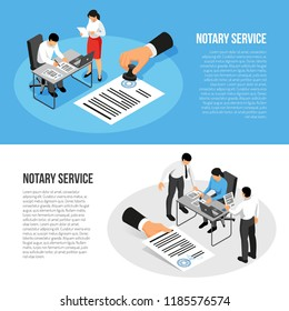 Notary service isometric horizontal banners with persons during documents execution isolated on blue white background vector illustration