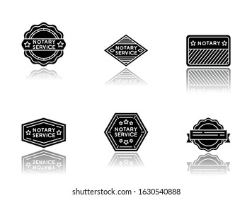 Notary service stamps drop shadow black glyph icons set. Apostille and legalization. Validation. Approval, confirmation. Legal paper. Notarization. Isolated vector illustrations on white space