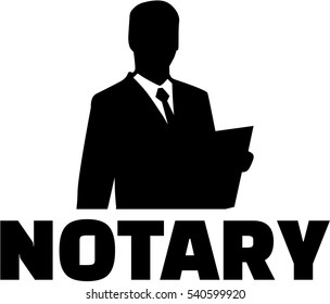 Notary silhouette with job title