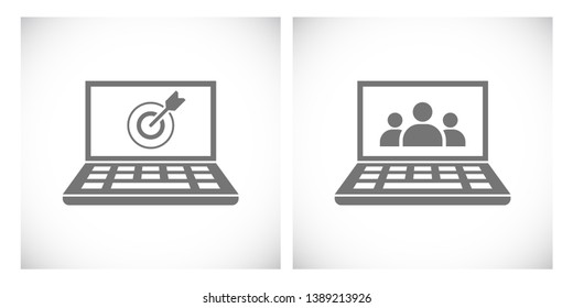 notbook with target and teamwork people icon
