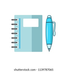 note book with ballpoint - stationery icon vector