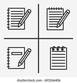 Note book icons  set illustration isolated vector sign symbol