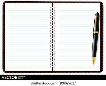 note book paper with pen