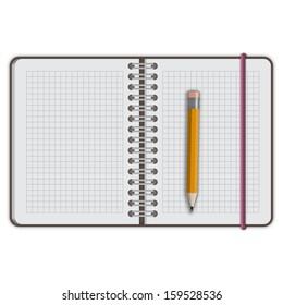 note book paper with pen isolated vector