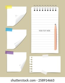Note book and note papers with pencil, Business working elements for web design , mobile applications, social networks.