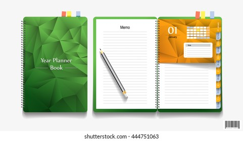 Note book and pencil, Business working elements. vector file