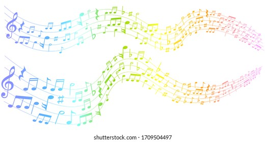 Note curve music colorful background