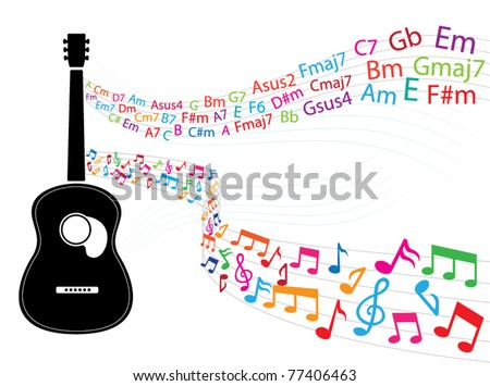 Note Guitar Chords Floating Guitar Stock Vector (Royalty Free ...