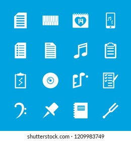 Note icon. collection of 16 note filled icons such as check list, 14 date, clipboard, clipboard with chart, pin, piano, document. editable note icons for web and mobile.