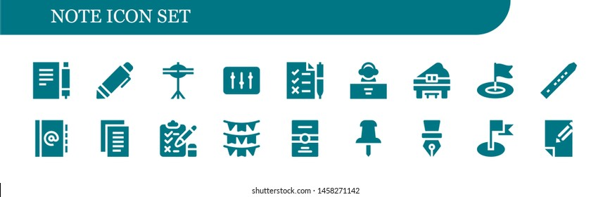 note icon set. 18 filled note icons.  Simple modern icons about  - Note, Pen, Cymbals, DJ, Tasks, Piano, Flag, Flute, Agenda, Notes, Test, Flags, Postcard, Push pin, Paper