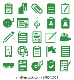 Note icons set. set of 25 note filled icons such as resume, emoji listening music, check list, notebook, clipboard, treble clef, mobile phone music, document, documents box