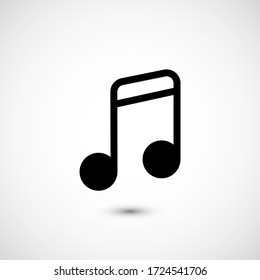 Note music vector icon. The symbol song icon for web site. Illustration Melody or tune for mobile apps. Pictogram Note. Minimalist icon music, note icon. Sound concept