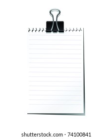 Note pad with black paperclip isolated on white background.