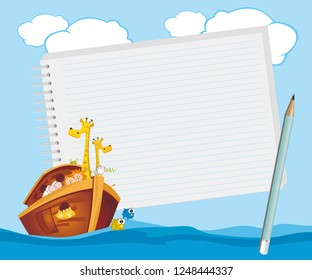 Note pad plus pencil with Noahs Ark floating in the ocean