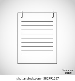 Note paper with paperclip icon - vector  illustration