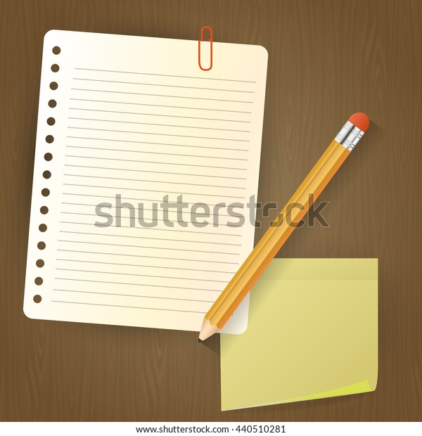 Note paper with pencil and sticker on wood background. Vector Illustration