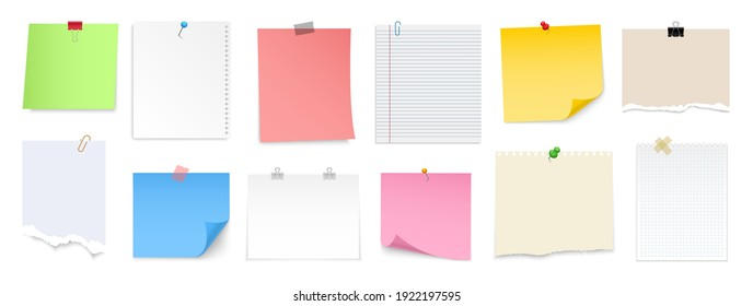 Note paper with pin, binder clip, push pin, adhesive tape and tack. Blank sheet, sticky note, torn piece of paper and notebook page. Templates for a note message. Vector illustration.