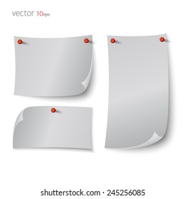 Note paper with push colored pin template isolated on white background