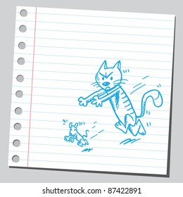 Note paper sketch of a cat catching a mouse
