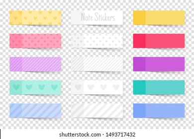 Note paper sticks. Colourful papers notes, coloured memo stickers isolated on transparent background, colour reminder tapes vector illustration