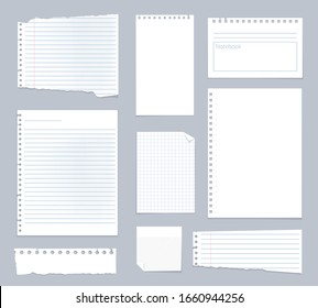 Note papers. Lined notes set stripe sheets vector notebook template