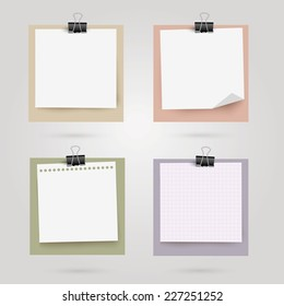 Note papers with place for your text. Vector illustration.