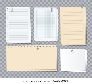 Note papers sheets. Different notepaper with paper clips, memo stickers. Notepad for notice, appointment list of notebook vector set