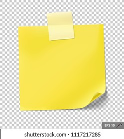 Note papers with tape on transparent background. Vector illustration. Can be use for your design, presentation, promo, adv. EPS10.