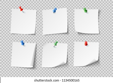 Note papers. White pin blank sticky notes with color pins post notepaper. Nobody paper organize office reminder stuck bulletin board or schedule template icons vector set isolated