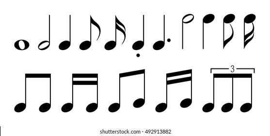 Note set / Simple and basic musical symbol.