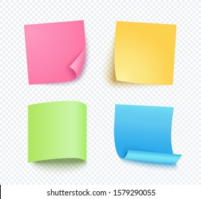 Note sheet of paper set with different shadow. Colored blank post for message, to do list, memory. Set of pink, yellow, blue and green vector sticky notes isolated on transparent background.