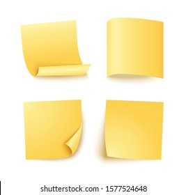 Note sheet of yellow paper set with different shadow. Blank post for message, to do list, memory. Set of four vector sticky notes isolated on white background.