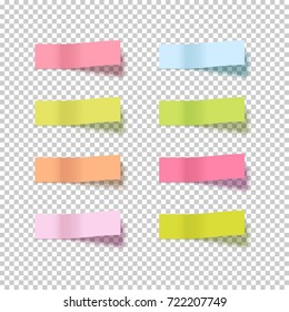 Note sticky sticker isolated. Adhesive office paper tape vector illustration. Notes sticker on transparent.