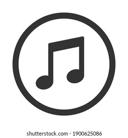 Note vector icon collection. Sheet music symbol. Song melody sign. Application and web interface button. Silhouette image.