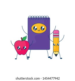 notebook with apple fruit and pencil kawaii style
