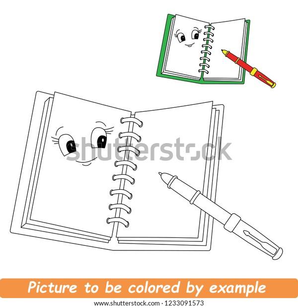 Notebook Be Colored Coloring Book Preschool Stock Vector ...